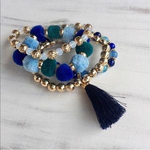 $11 CLEARANCE! Beaded Pom Pom Tassel Bracelet Set