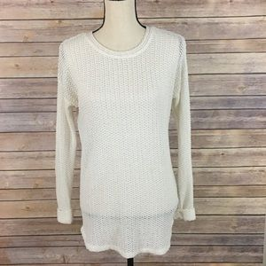 UO Sparkle & Fade Light Open Knit White Sweater M