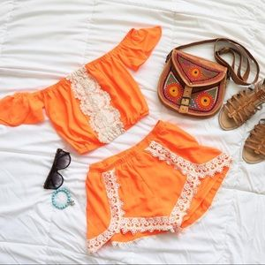 Neon Orange 2 piece short set