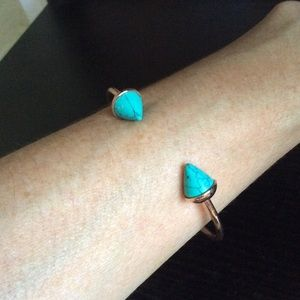 Turquoise and rose gold cuff bracelets