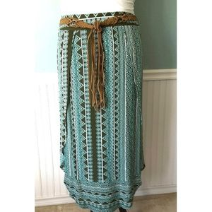 Dresses & Skirts - PLUS▪High Slit Boho Maxi with Aztec Print