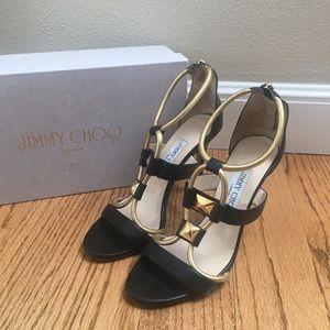 Jimmy Choo Venus Black Gold Strappy Sandals Heels