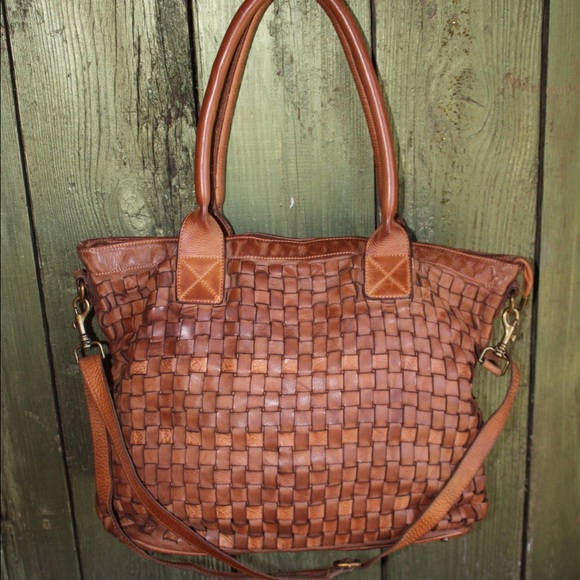 8ccf27dfc0 Soft Camel Color Italian Woven Leather Handbag