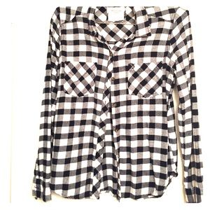 Black and white checkered long sleeve shirt