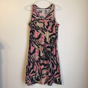 Faded Glory Pink/Black/Tan Tank Dress