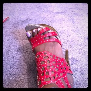 Shoes - Brand new red platform heels with wood detail Sz 8