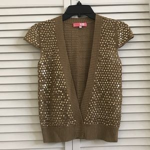 🆕Gold sequins cardigan from LUX, EUC.