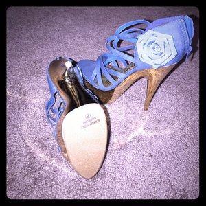 Shoes - Denim Sz 8 platform heels with gold detail