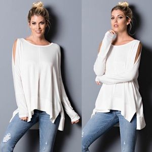 SAMMIE Cold Shoulder Long Sleeve Top - IVORY