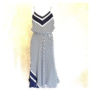 Dresses & Skirts - Navy and white striped summer silk midi dress