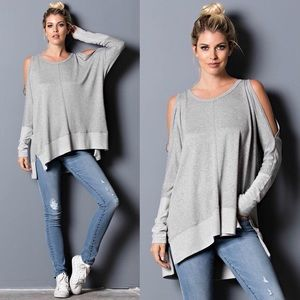SAMMIE Cold Shoulder Long Sleeve Top - H. GREY