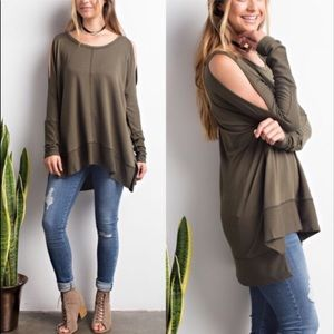 SAMMIE  Cold Shoulder Long Sleeve Top - OLIVE