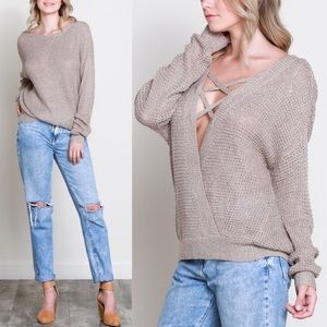 GRACE Long Sleeve Criss Cross Top - PEACH