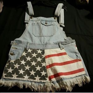 American flag short overalls