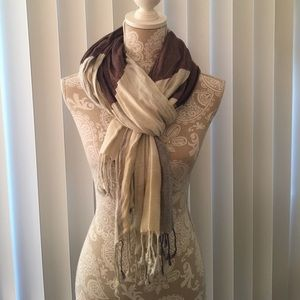 Brown and cream checkered Lightweight Scarf