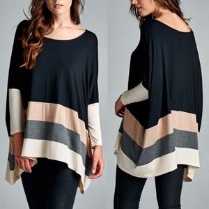 VINA Stripe Long Sleeve Top - BLACK