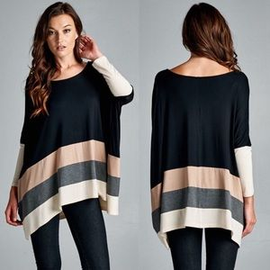Bellanblue Tops - VINA Stripe Long Sleeve Top - BLACK