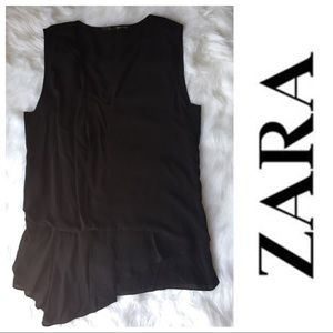 Zara asymmetrical pleated sleeveless top in black