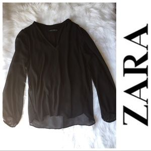 Zara long sleeve lined sheer blouse in black