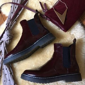 272d2e01290 Zara Shoes | Maroon Patent Leather Chelsea Boots | Poshmark