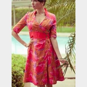 Retro side button wrap dress