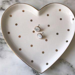 Trendy White Marble & Gold Stud Earrings