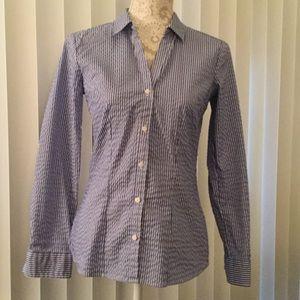 H&M Blue Striped Button down shirt Size 8