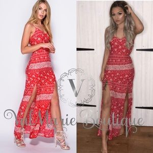 Red Paisley handkerchief  maxi dress