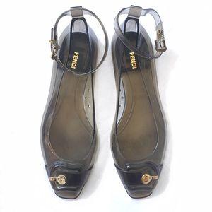 Fendi Jelly Ankle Strap Peep Toe Flats