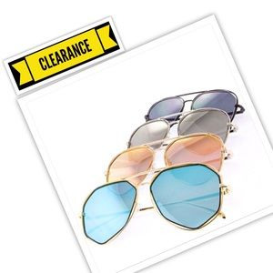 BLUE Lense Gold Frame Aviator Sunglasses