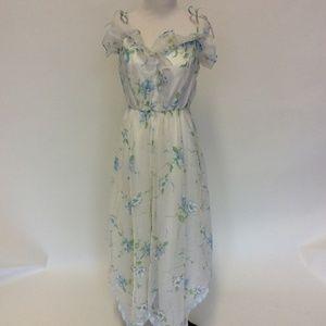 Vintage 70's polyester floor length prom dress