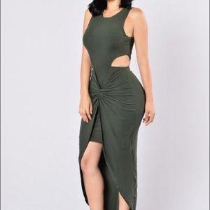 Fashion Nova Sleeveless Olive Green Dress