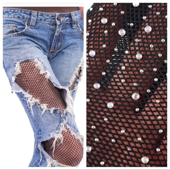 42006e844ffa9c Haute Ellie Accessories   Iridescent Rhinestone Fishnet Legging ...