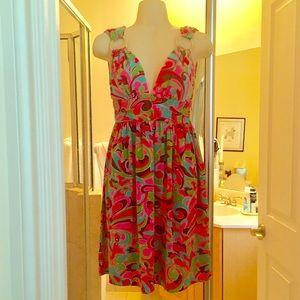 Milly of New York Sun Dress Stretch Pink Multi P
