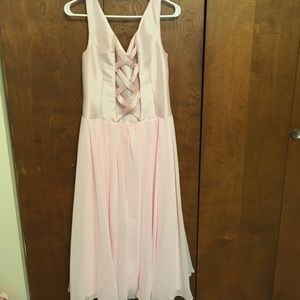 custom Dresses - NWOT ballerina pink crisscross back cocktail dress