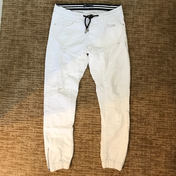 2f528432 Zara Men's Joggers White Denim wth Zippered Ankle.  M_595aaedd9c6fcf13500c6350