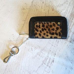 NWT! Alice + Olivia calf hair wallet keychain