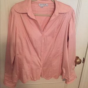 Kay Unger pink cotton sateen blouse. Sz 12.