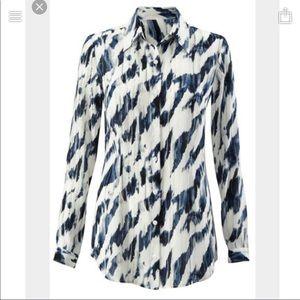 CAbi #3096 moody blues semi sheer chiffon blouse