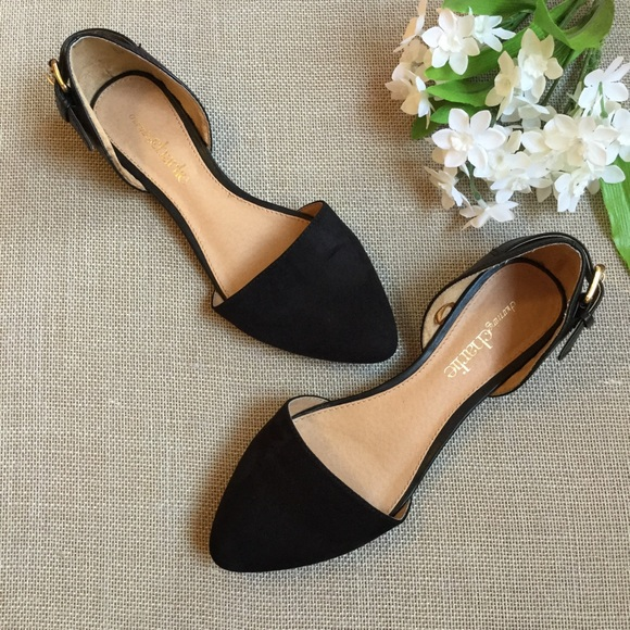 1d959d676e1612 Charming Charlie Shoes - CHARMING CHARLIE Black Suede Buckle Flats