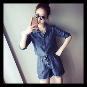Pants - Denim Romper