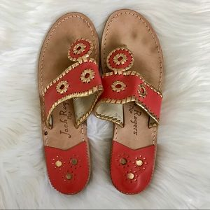 Coral/Gold Jack Rogers Sandals, Size 8