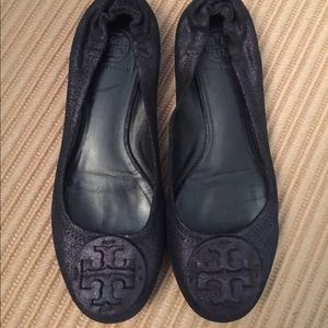 Tory Burch Navy suede shimmer ballet flats -size 9