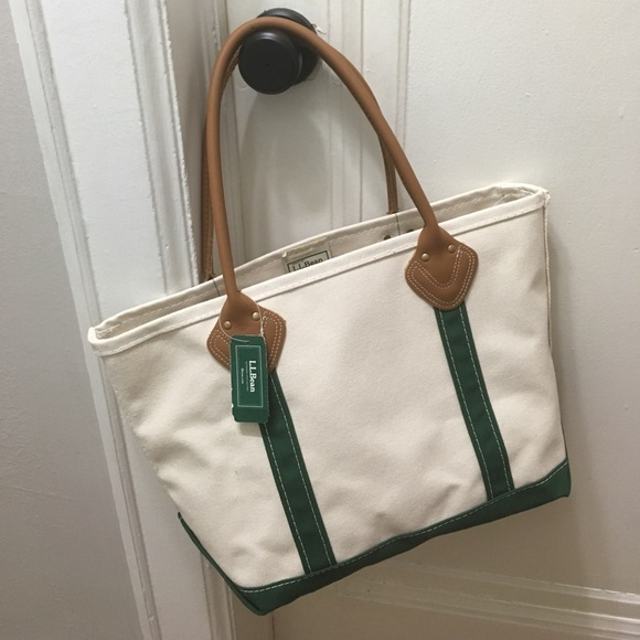 608dc2d24b5c L.L. Bean Leather Handle Boat and Tote Dark Green