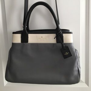 Kate Spade Leather Branton Square Mills Gray Bag