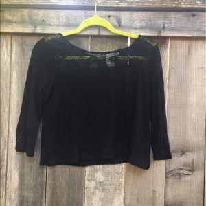 black lace detailed crop top