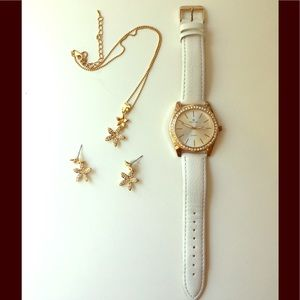 Flower Necklace, Earrings and Watch Set
