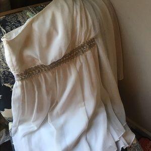 One Shoulder BCBG Max + Cleo White Cocktail Dress