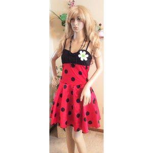 Dresses & Skirts - Polka Dot Sunflower Vintage Dress (Medium)