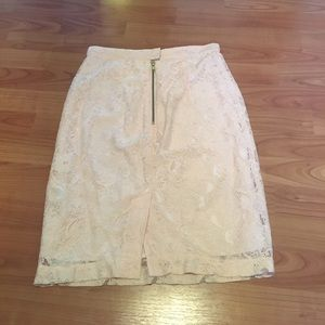 H&M Skirts - Blush lace h&m pencil skirt with gold zipper
